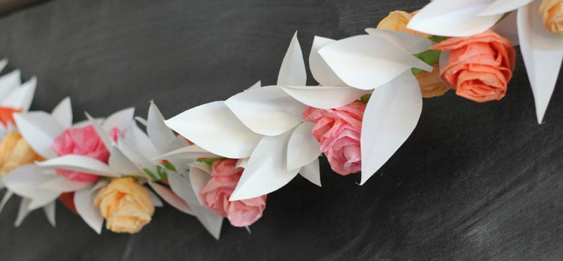 Paper and coffee filter rose garland