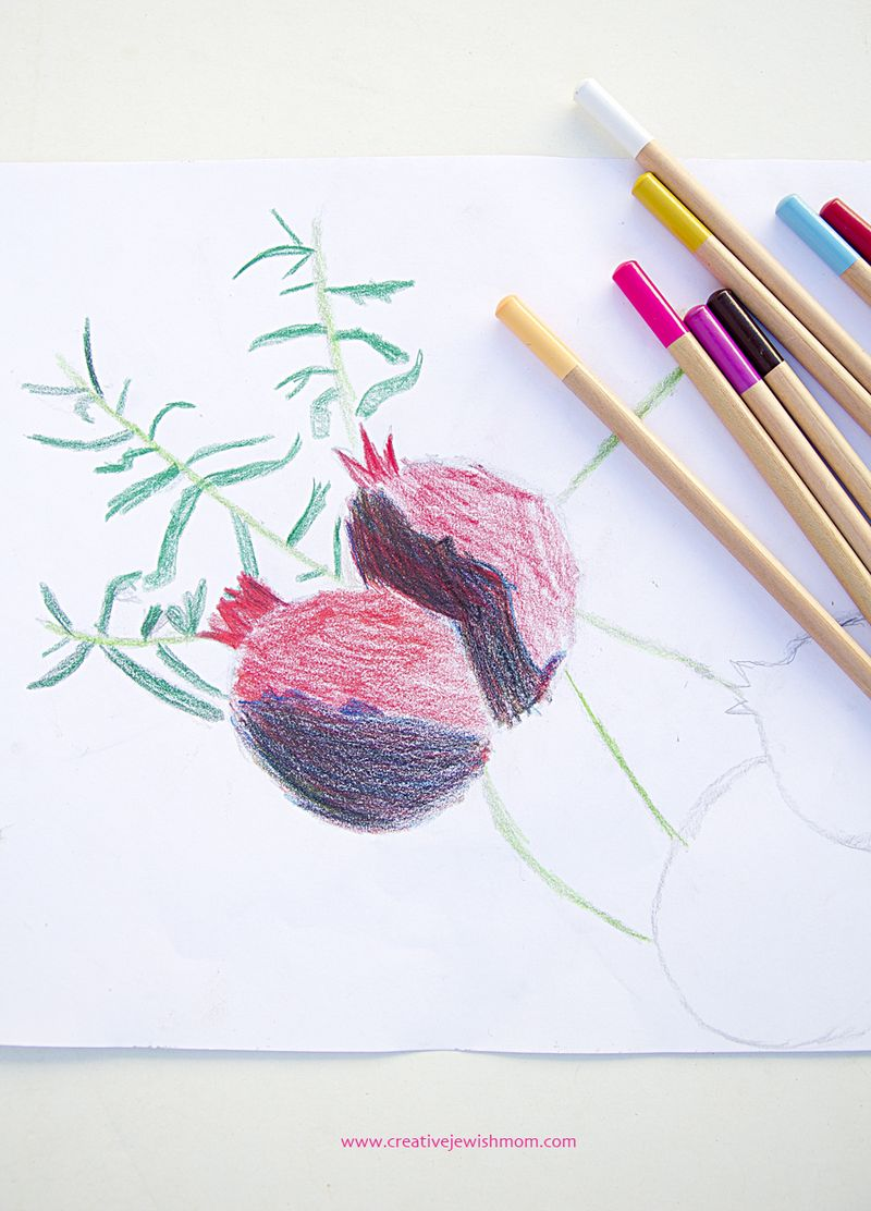 Kid's Drawing Exercise With Colored Pencils