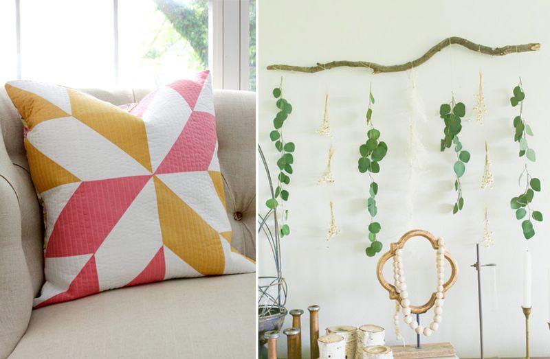 Eucalyptus wall art,quilted pillow