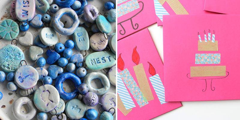 Washi tape birthday invitations,polymer clay beads