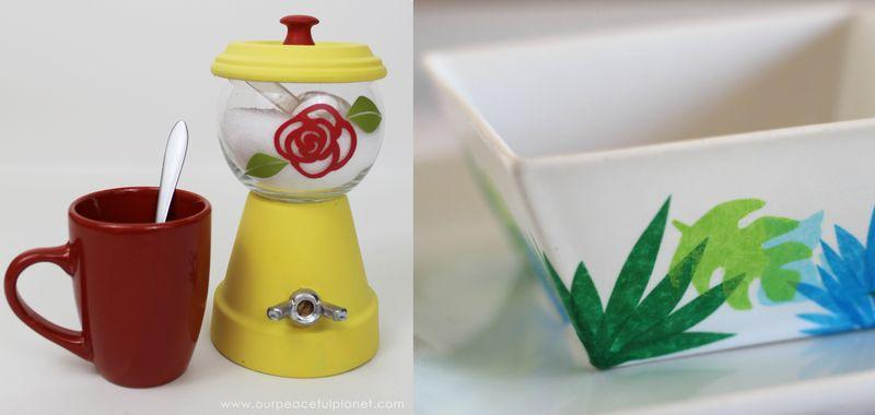 Plant pot sugar bowl,decoupaged cat bowl