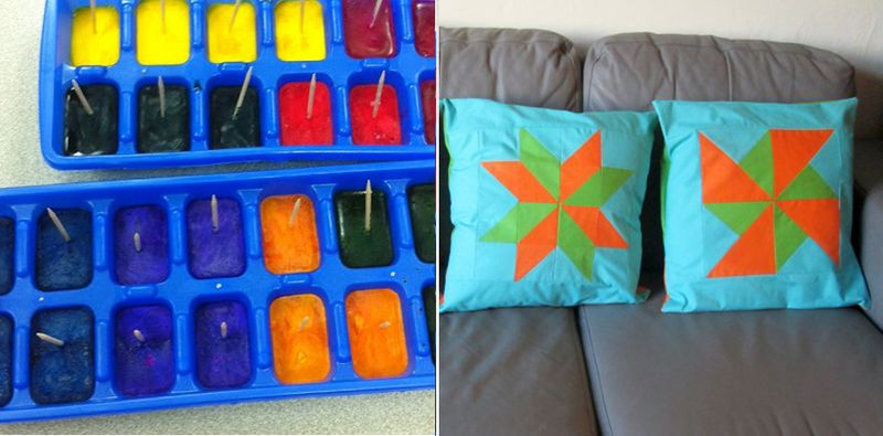 Quilt block pillows, ice cube painting