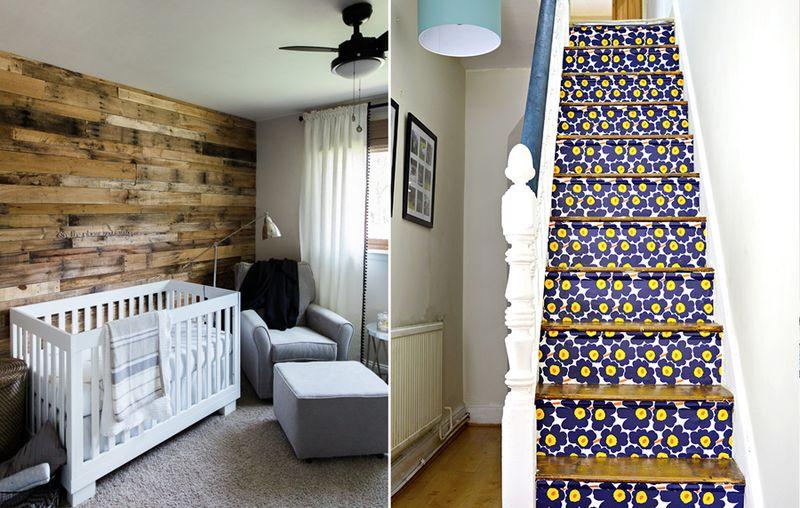 Marimekko stair risers,wood nursery wall