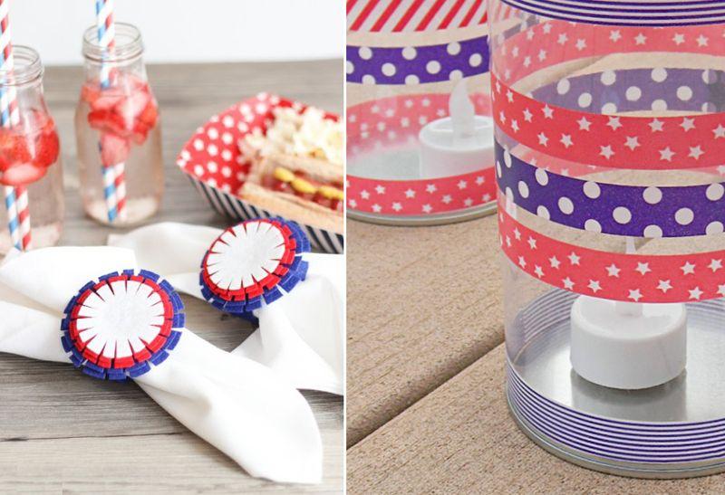 Felt starburst napkin rings,washi tape lantern