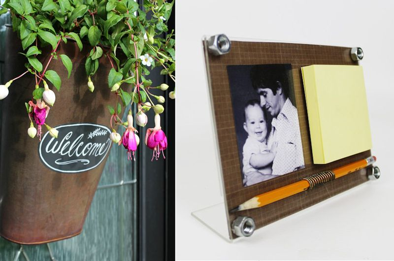 Memo pad frame for dad,fuschias in rusted bucket