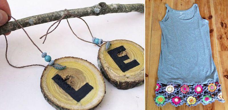 Wood slice word wall hanging,crochet trim tank dress
