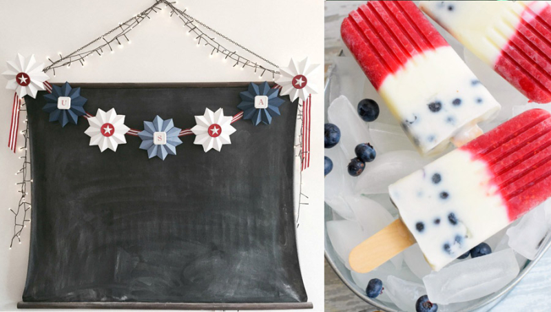 Paper star garland,red white and blue popsicles