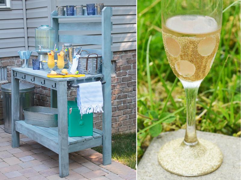 DIY Potting Table,polka dot glitter wine glass