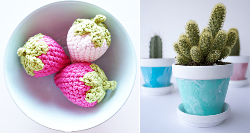 Crocheted strawberries,marbled cactus pots