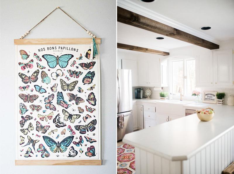 DIY poster frame,white farmhouse kitchen