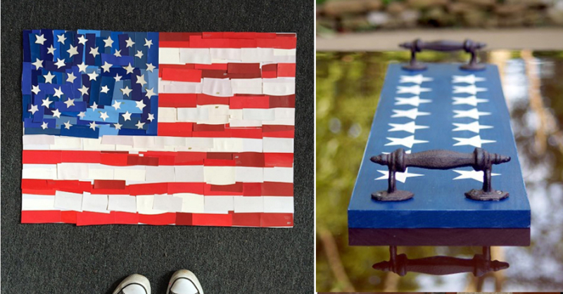 Paint swatch flag, patriotic plank tray