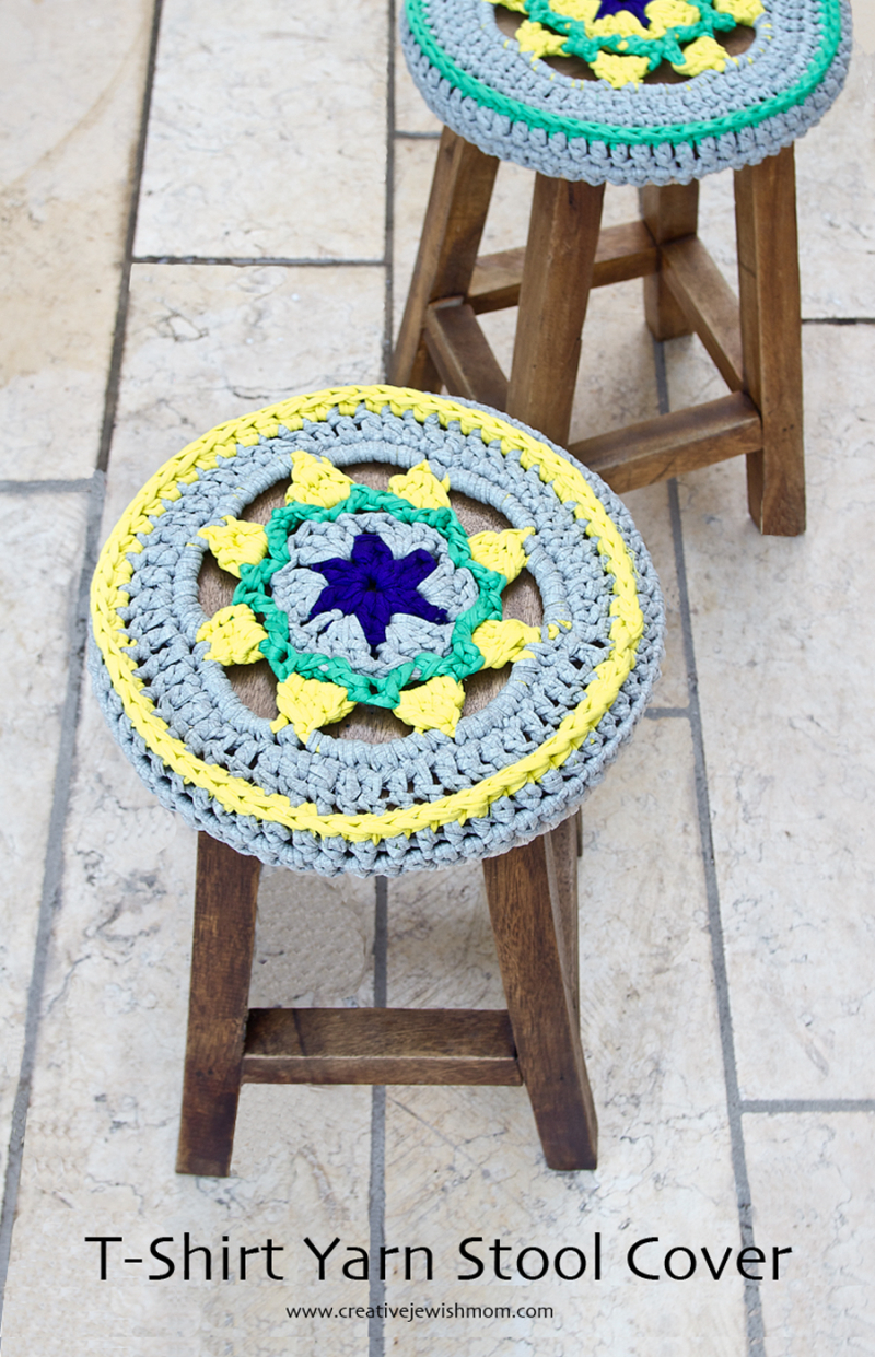 Crocheted Stool Cover Star Medallion