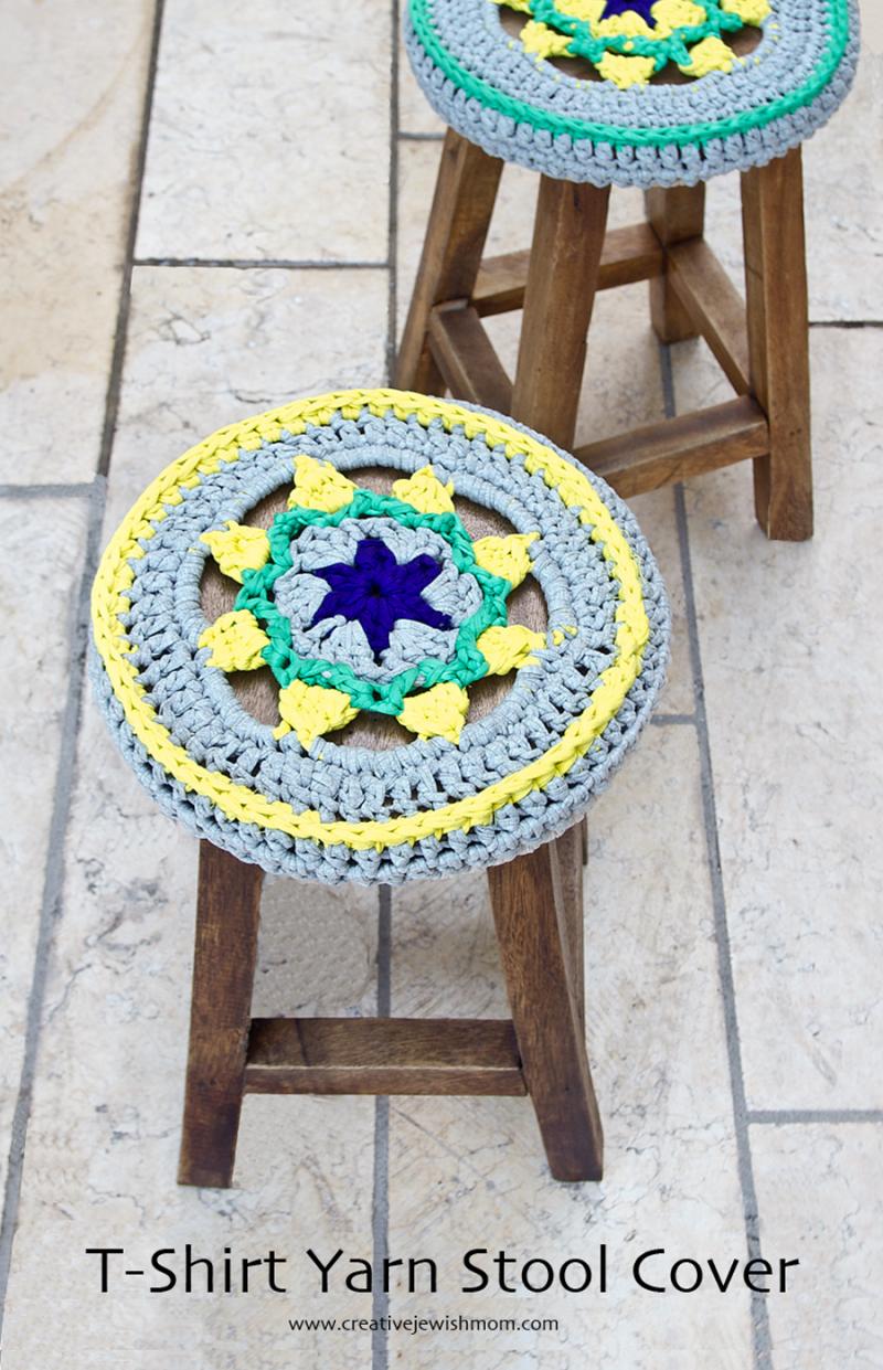 Crocheted Stool Cover Star Medallion