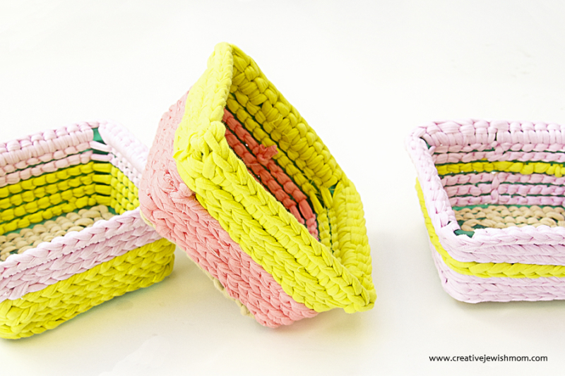 Crocheted Baskets With Plastic Base