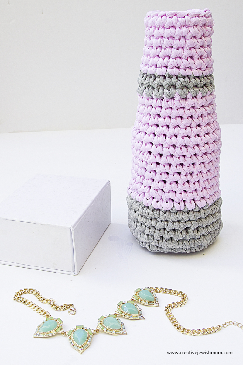 Crocheted Vase Using Glass Bottle