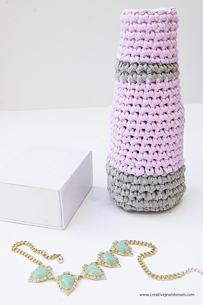 Crocheted Vase Using Glass Bottle