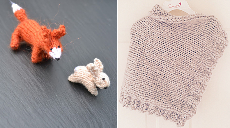 Knit kid's shawl,knit fox and hair minis