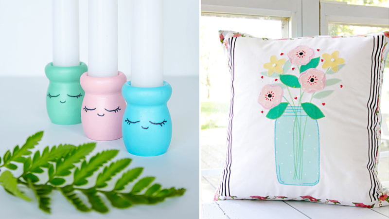 Wood candle sticks cute, mason jar applique pillow