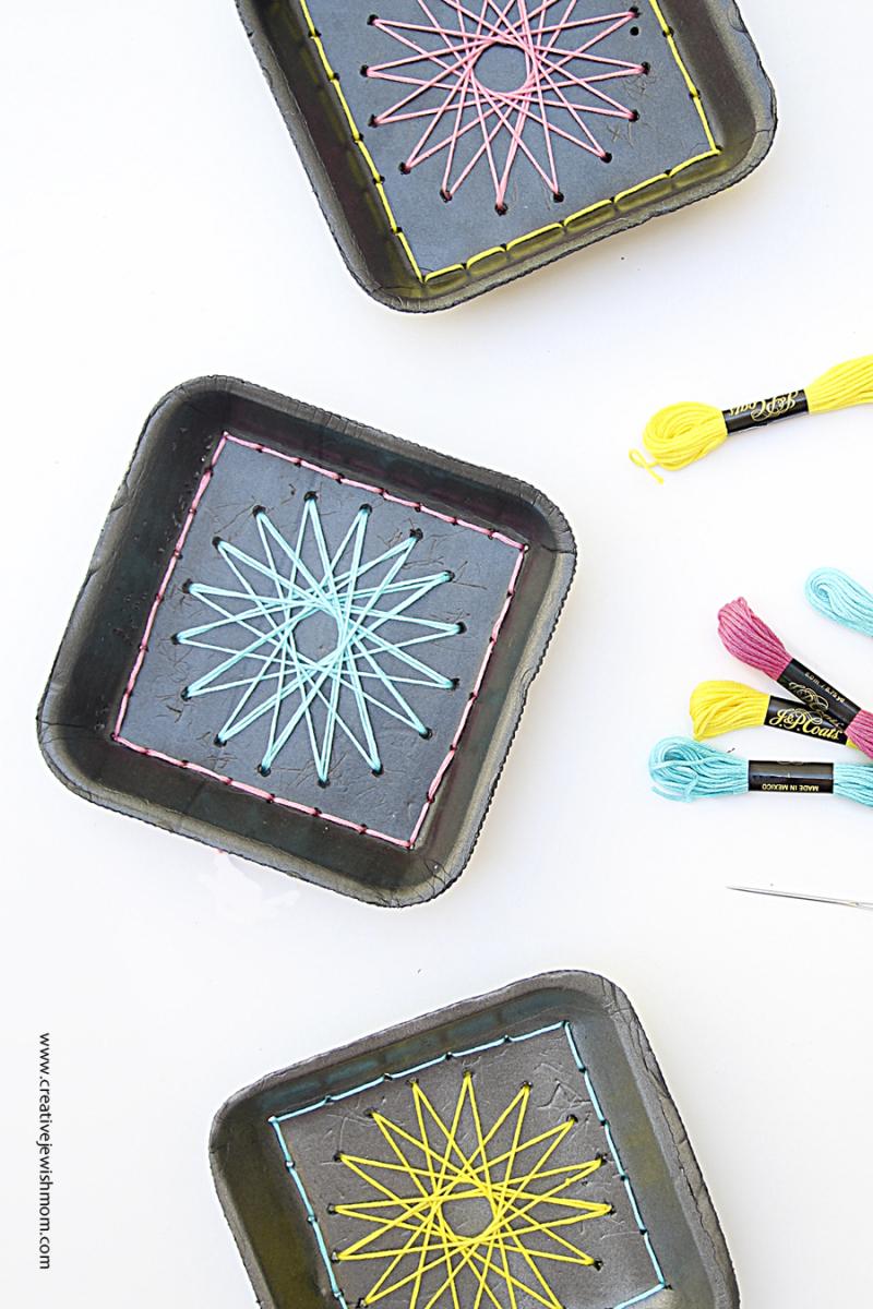 Styrofoam Tray craft embroidered stars close up
