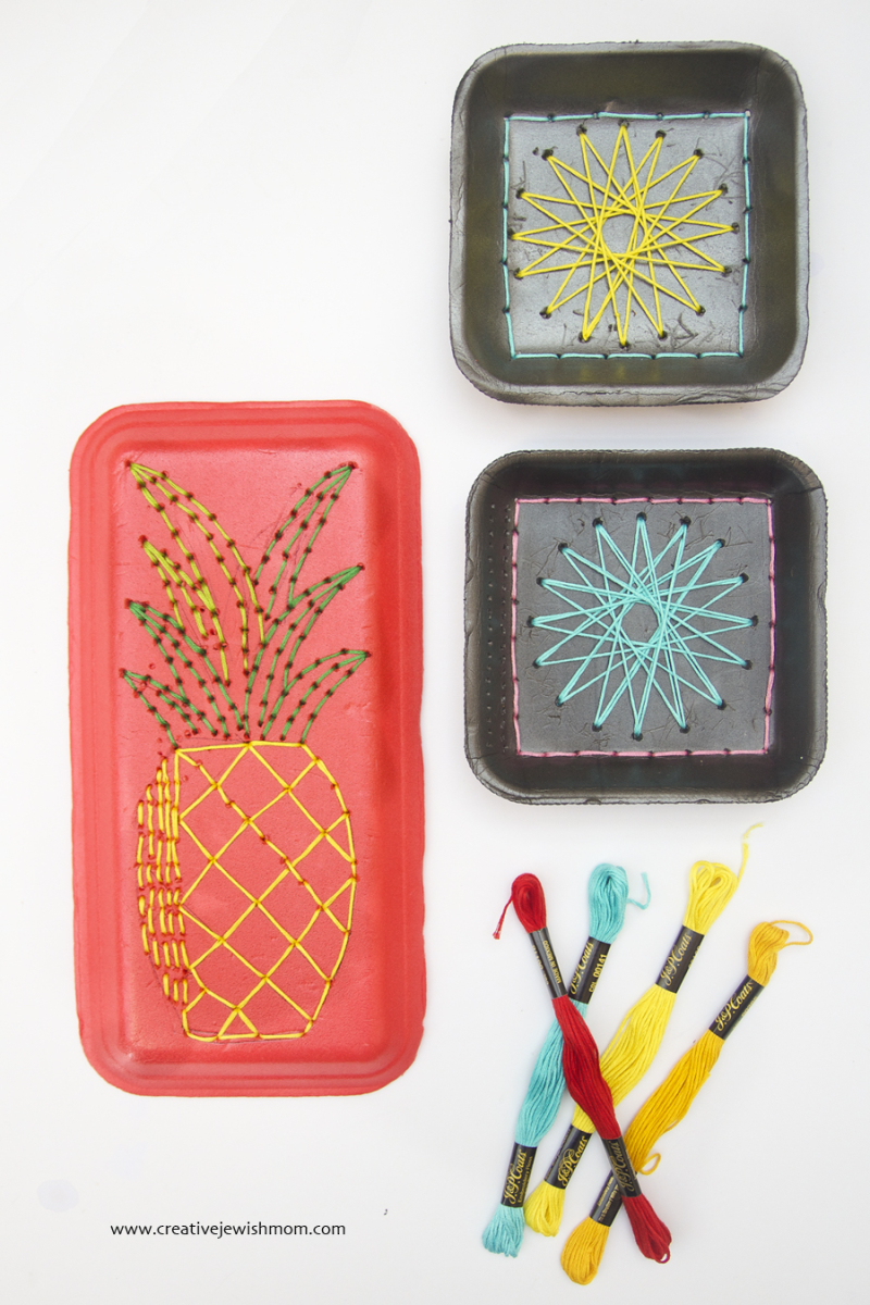 Styrofoam Tray Kid's Craft Embroidery