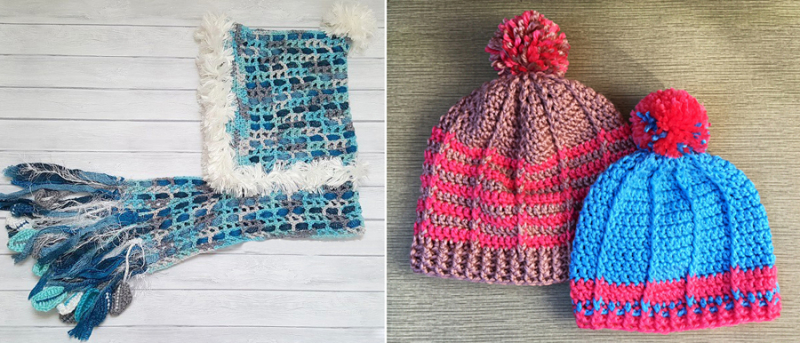 Crocheted ribbed hats,crocheted scarf with hood