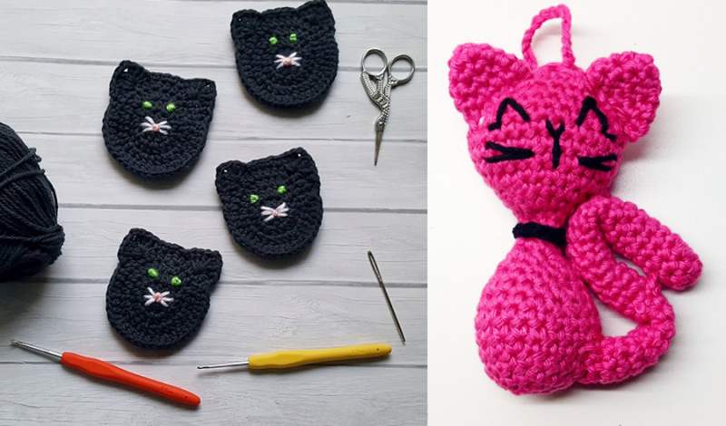 Crocheted black cat coasters,crocheted pink cat keychain