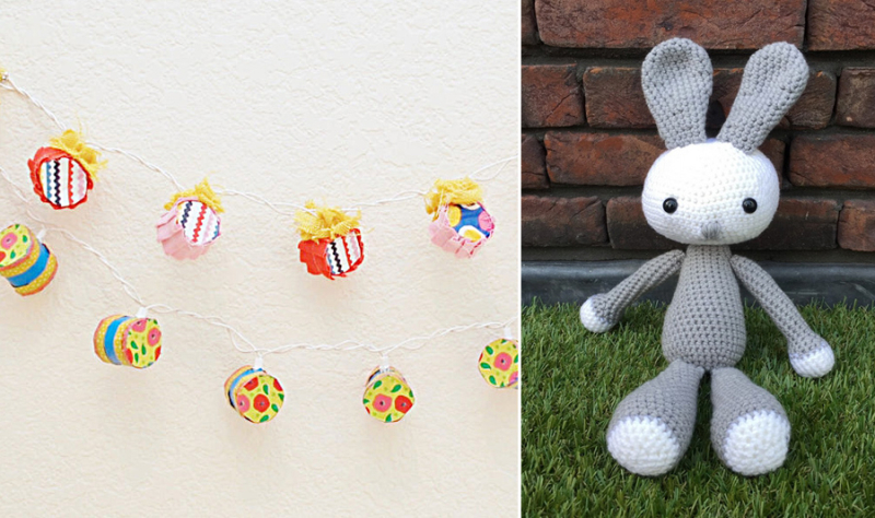 Toilet paper tube string lights,crocheted bunny