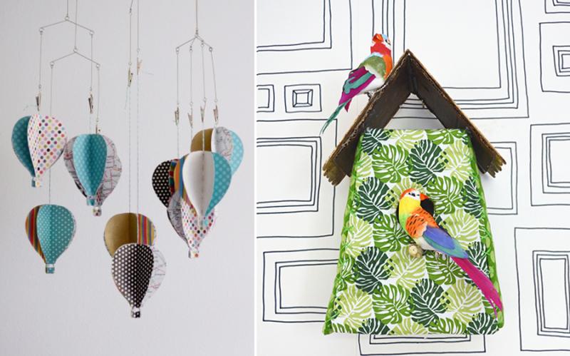 Hot air balloon baby mobile,fabric birdhouse