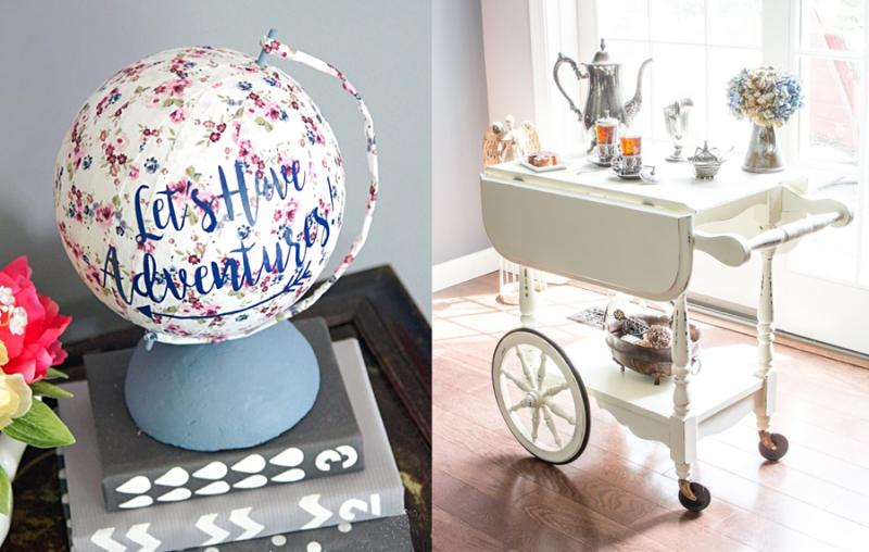 Foam ball globe,tea cart furniture revamp,