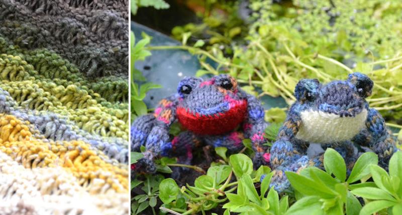 Knit frogs,wavy knit stitch