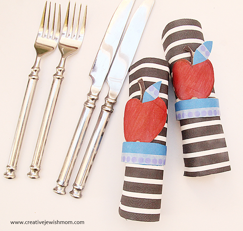 Toilet paper tube apple napkin rings
