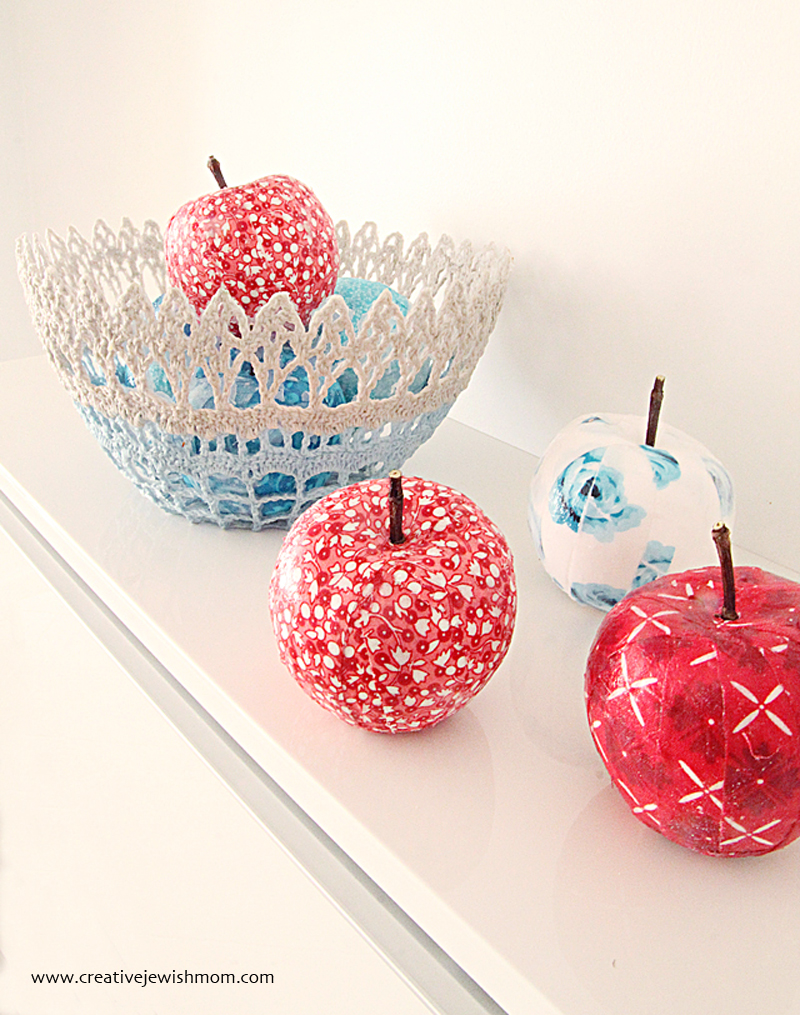 Apple craft with fabric scraps