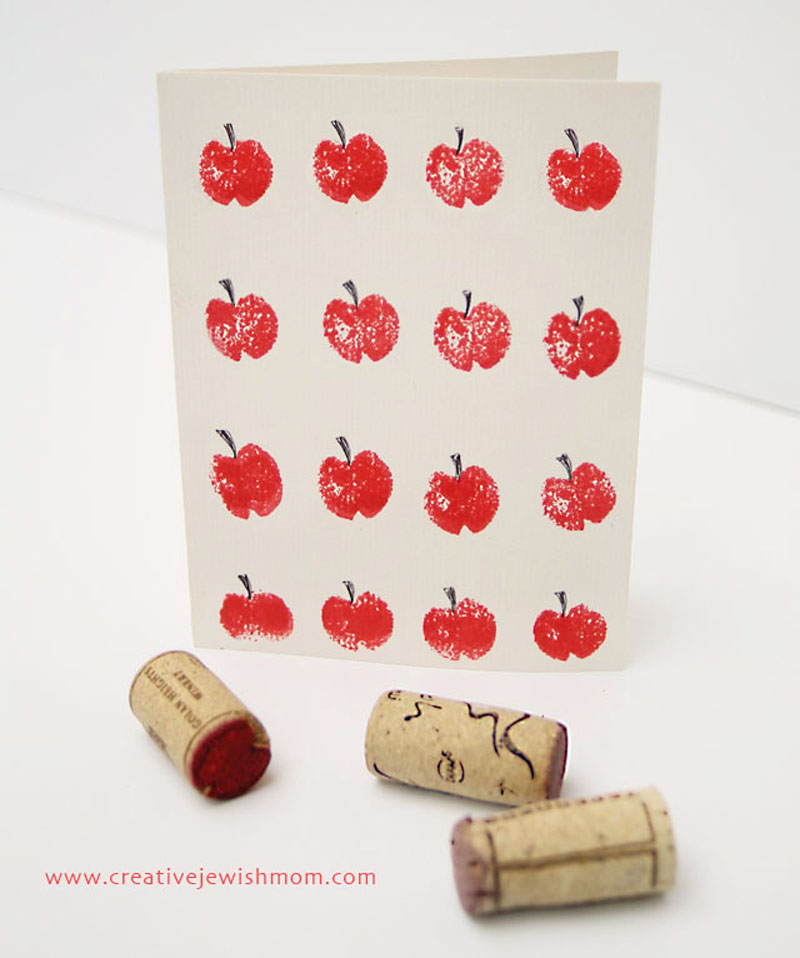 Wine cork stamped apple craft