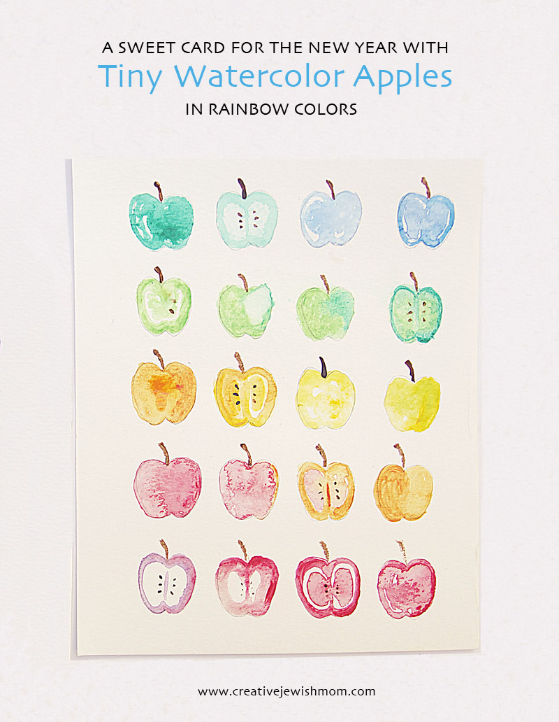Watercolor apples for rosh hashana craft