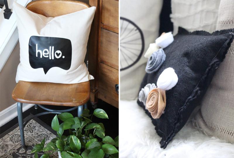 Fun hello pillow,felt rose pillow