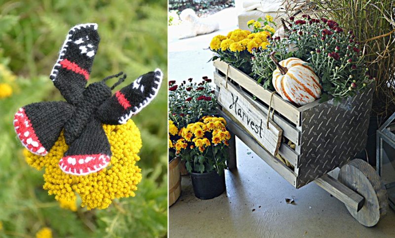 Knit butterfly,DIY decorative wheelbarrow
