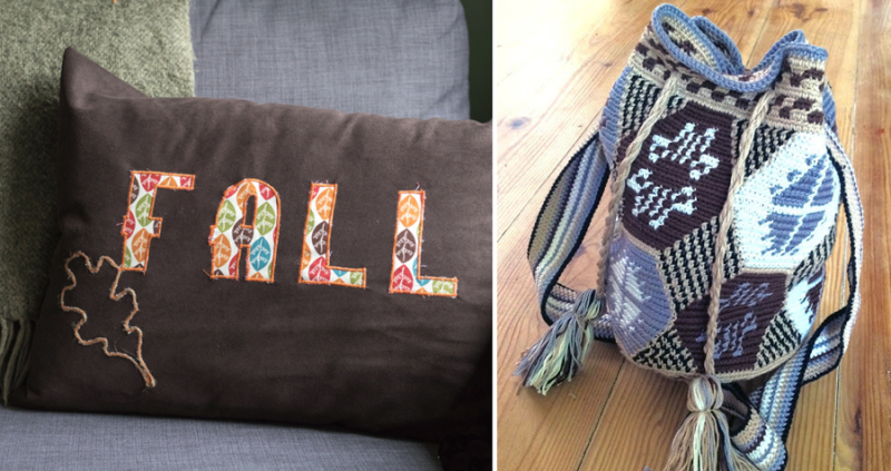 Fall applique pillow,crocheted tapestry bag