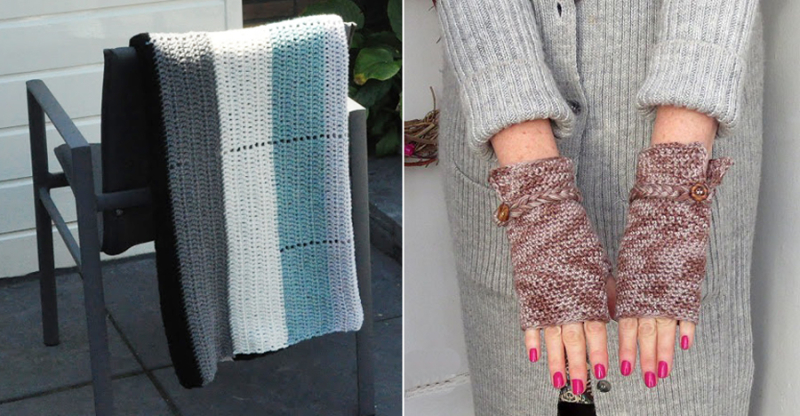 Fingerless crocheted gloves,easy striped crochet blanket
