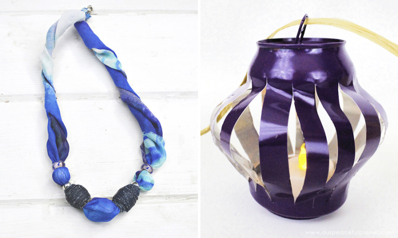 Soda can chinese lantern,denim bead and scarf necklace