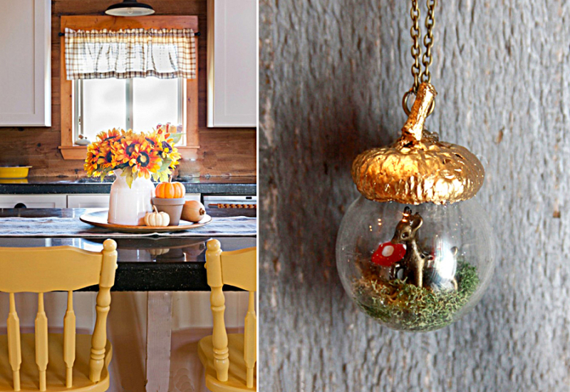 Fall country kitchen tray,acorn shaped terrarium necklace