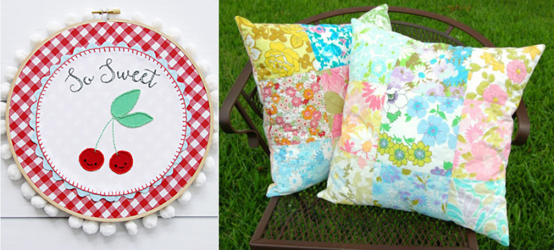 Retro cherry embroidery hoop art,vintage sheets patchwork pillow