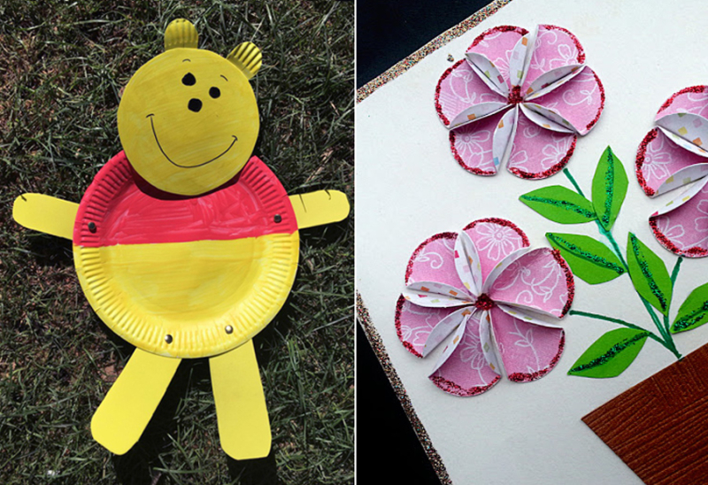 Winnie the pooh kid's craft,easy paper flowers in a pot craft