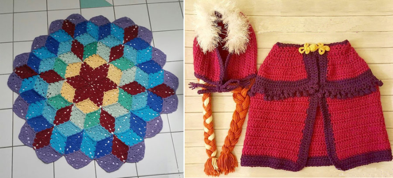 Crocheted cape and hat costume,crocheted bathroom rug