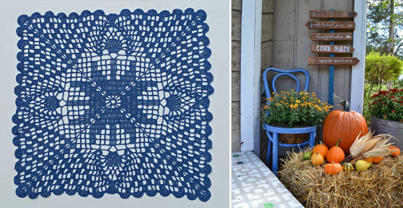 Crocheted doily,fall front porch with pumpkins and flowers