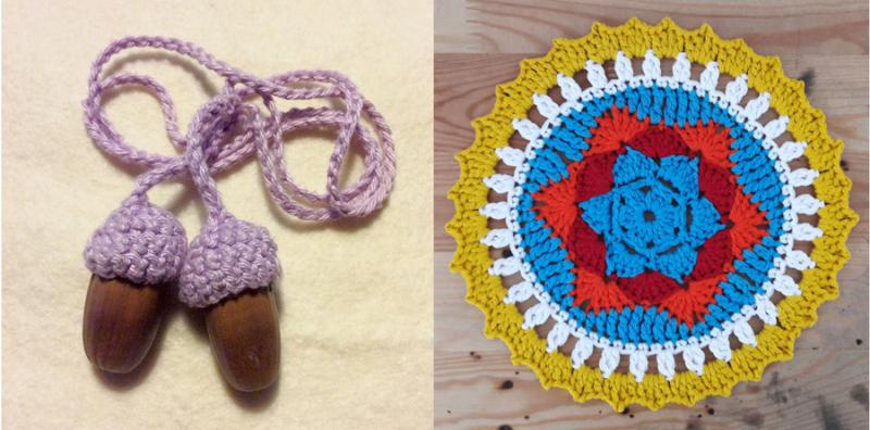 Crocheted star mandala,crocheted acorn necklace
