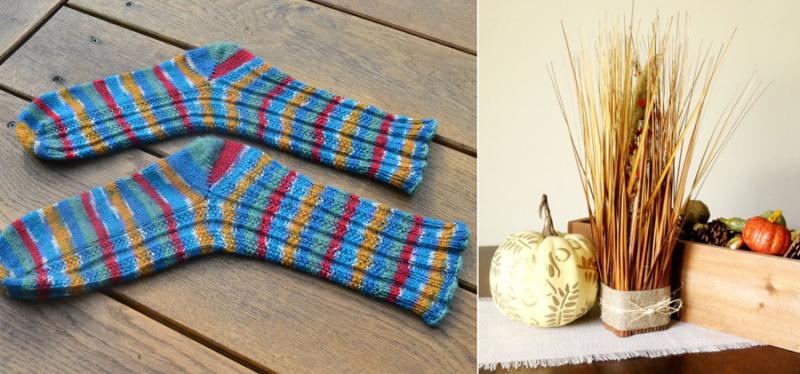 Knitted striped socks,fall grass arrangement