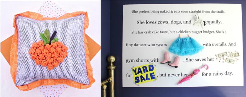 Object and text feature wall,pumpkin fleece pillow