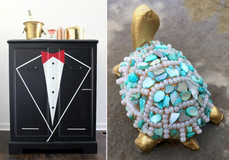 DIY tuxedo bar, beaded mosaic turtle