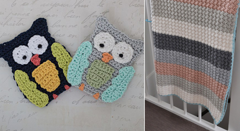Crocheted owl applique,crocheted striped blanket