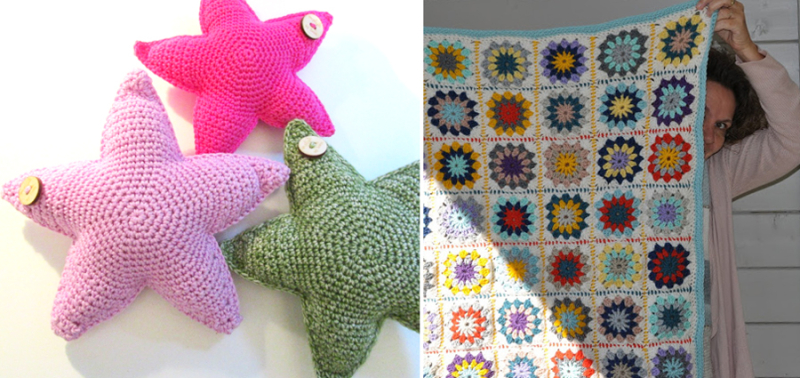 Crocheted star pillow,round granny square blanket
